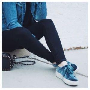 Steve Madden Bertie Blue Velvet Platform Sneakers